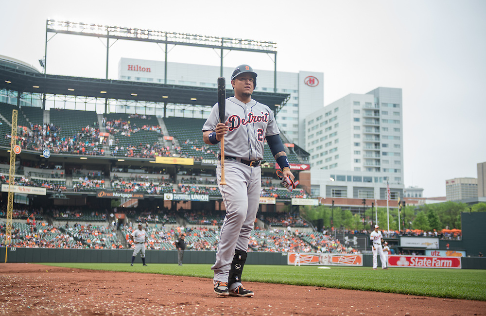BALTIMORE, MD - MAY 14: Miguel Cabrera #24 of the Detroit Tigers gets ready to bat during the game against the Baltimore Orioles at Oriole Park at Camden Yards on May 14, 2014 in Baltimore, Maryland. (Photo by Rob Tringali) *** Local Caption *** Miguel Cabrera