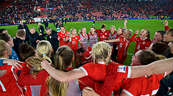 SOUTHAMPTON, ENGLAND - Friday, April 6, 2018: Wales players celebrate after a hard fought goal-less draw against England during the FIFA Women's World Cup 2019 Qualifying Round Group 1 match between England and Wales at St. Mary's Stadium. (Pic by David Rawcliffe/Propaganda)