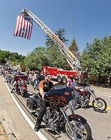 Riders depart from the Naswa Resort for the annual Makris Memorial Ride around Lake Winnipesaukee on Saturday morning.  (Karen Bobotas/for the Laconia Daily Sun)