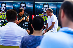 Aljaz Bedene with Gasper Bolhar during ATP Press conference with Aljaz Bedene, on July 25th, 2019, in Ljubljansko kopalisce Kolezija, Ljubljana, Slovenia. Photo by Grega Valancic / Sportida