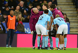 John Stones of Manchester City gets checked over by the medical team. - Mandatory by-line: Alex James/JMP - 18/11/2017 - FOOTBALL - King Power Stadium - Leicester, England - Leicester City v Manchester City - Premier League
