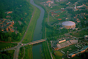 Aerial view of the Hocking River, Peden Stadium, and The Convocation Center. © Ohio University