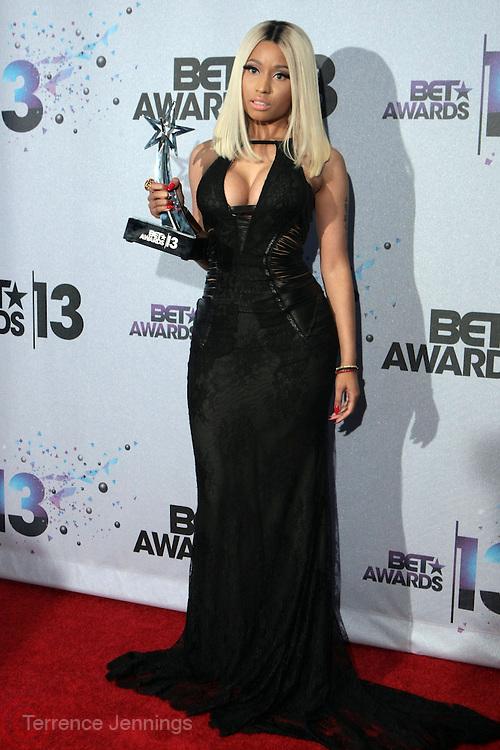 Los Angeles, CA-June 30:  Recording Artist Nicki Minaj backstage at the 2013 BET Awards Winners's Room Inside held at LA Live on June 30, 2013 in Los Angeles, CA. ©Terrence Jennings/Retna, Ltd