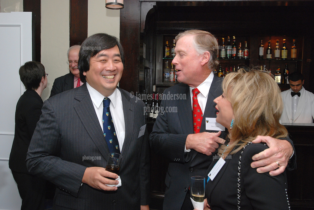 """Harold Hongju Koh and Dan Quayle at the Maurice R. """"Hank"""" Greenberg Reception, 21 Club NYC 18 Sept 2007. Honoring the endowment of the David Boies Professorship of Law at Yale Law School."""