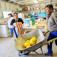 Guy Lee,right,  pushes a wheel barrow past wife Marlene as the family prepares for the arrival of the Yei bi chei at the Northern Navajo Fair in Shiprock Thursday.