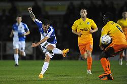 Matt Taylor of Bristol Rovers takes a shot at goal - Mandatory byline: Dougie Allward/JMP - 07966 386802 - 06/10/2015 - FOOTBALL - Memorial Stadium - Bristol, England - Bristol Rovers v Wycombe Wanderers - JPT Trophy