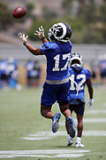 Los Angeles Rams wide receiver Robert Woods (17) leaps and catches a pass during the Los Angeles Rams NFL football camp on Monday, June 4, 2018 in Thousand Oaks, Calif. (©Paul Anthony Spinelli)