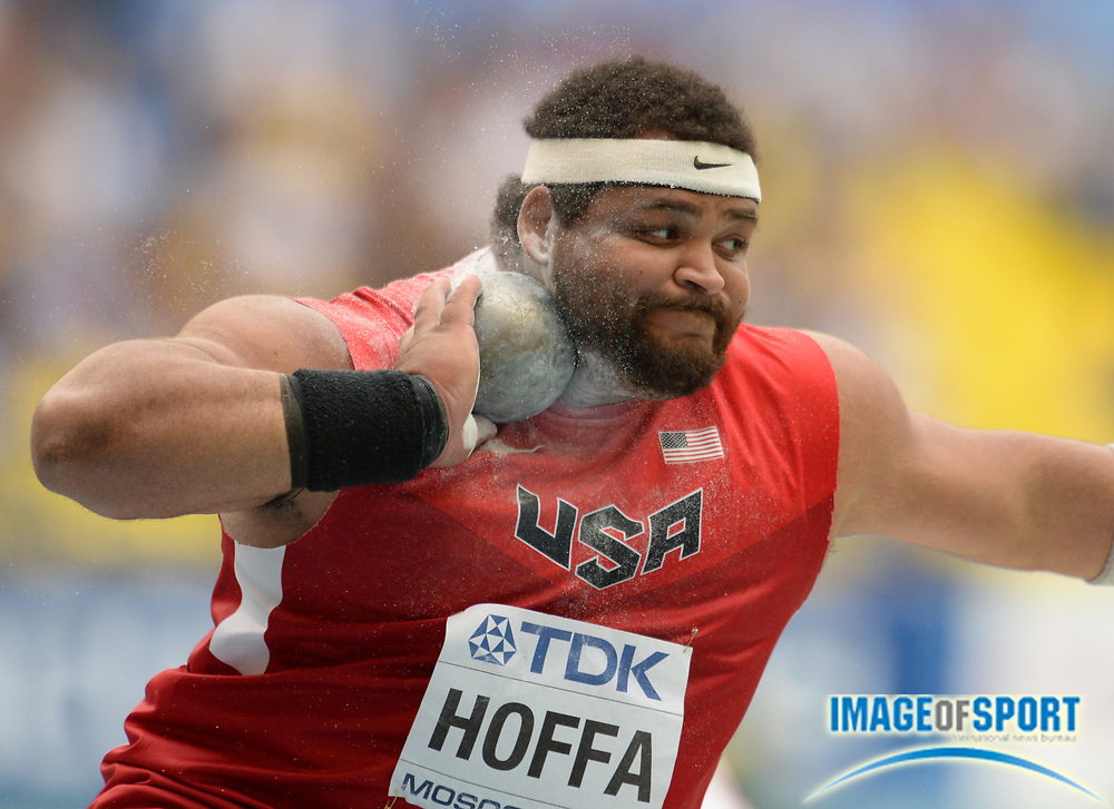 Aug 15, 2013; Moscow, RUSSIA; Reese Hoffa (USA) throws 67-0 (20.42m) in the shot put qualifying to advance in the 14th IAAF World Championships in Athletics at Luzhniki Stadium.