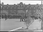 1983-04-12.12th April 1983.12-04-1983.04-12-83..Photographed at McKee Barracks, Cork..On Parade..Troops at attention as colour party marches ....