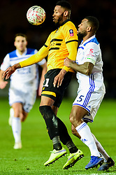 Jamille Matt of Newport County is marked by Wes Morgan of Leicester City - Mandatory by-line: Ryan Hiscott/JMP - 06/01/2019 - FOOTBALL - Rodney Parade - Newport, Wales - Newport County v Leicester City - Emirates FA Cup third round proper