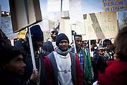 Manifestazione dei migranti dell'Ex-Moi nel centro di Torino in contemporanea all'inaugurazione della Biennale Democrazia. Torino, 10-04-'13.