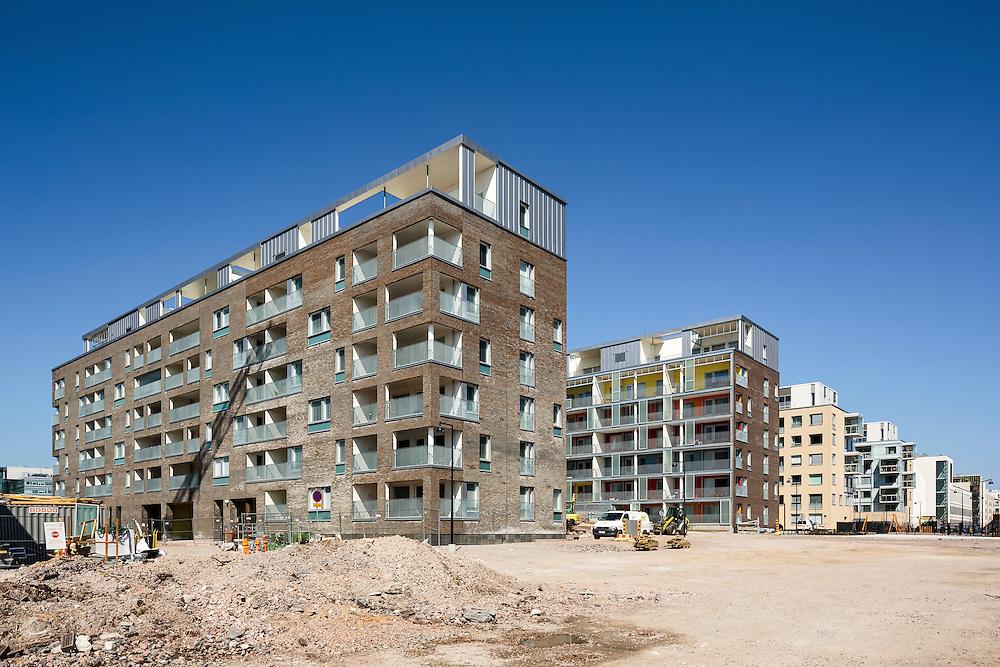Helsingin Saukonranta apartment buildings in Finland, designed by B&M architects.