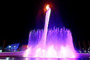 """The Olympic Flame, <br /> FEBRUARY 7, 2014 - Opening Ceremony : <br /> during the Opening Ceremony for The 2014 Olympic Winter Games <br /> at """"FISHT"""" Olympic Stadium <br /> during the Sochi 2014 Olympic Winter Games in Sochi, Russia. <br /> (Photo by Yohei Osada/AFLO SPORT)"""