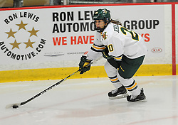 PITTSBURGH, PA - OCTOBER 14:  Rachel Khalouf #20 of the Vermont Catamounts skates with the puck in the third period during the game against the Robert Morris Colonials at 84 Lumber Arena on October 14, 2016 in Pittsburgh, Pennsylvania. (Photo by Justin Berl)