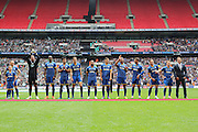 Players line up before the Sky Bet League 2 play off final match between AFC Wimbledon and Plymouth Argyle at Wembley Stadium, London, England on 30 May 2016. Photo by Stuart Butcher.