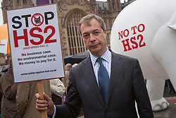 © licensed to London News Pictures. London, UK 16/07/2012. UKIP leader Nigel Farage joins the protesters who demonstrating against the government's new high speed rail project outside the Houses of the Parliament. Photo credit: Tolga Akmen/LNP