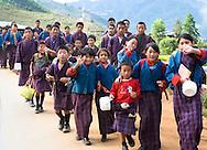 Kids returning from school, Paro