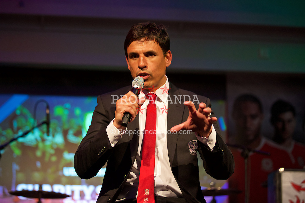 CARDIFF, WALES - Wednesday, June 1, 2016: Wales' manager Chris Coleman during charity send-off gala dinner at the Vale Resort Hotel ahead of the UEFA Euro 2016. (Pic by David Rawcliffe/Propaganda)