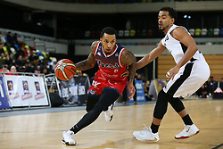 Gentry Thomas of Bristol Flyers drives at the defence - Photo mandatory by-line: Arron Gent/JMP - 20/11/2019 - BASKETBALL - Copper Box Arena - London, England - London Lions v Bristol Flyers - British Basketball League Cup