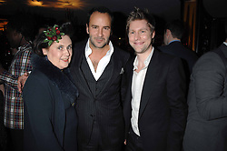 Left to right, SUZY MENKES, TOM FORD and CHRISTOPHER BAILEY at the launch of the 4th Fashion Fringe - a search to recruit the hottest, undiscovered fashion desugn talent in the UK and Ireland, held at The Bar at The Dorchester, Park Lane, London on 13th March 2007.<br /><br />NON EXCLUSIVE - WORLD RIGHTS