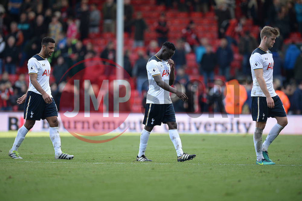 (left to right) Mousa Dembele of Tottenham Hotspur Victor Wanyama of Tottenham Hotspur and Eric Dier of Tottenham Hotspur walk off the pitch looking dejected.  - Mandatory by-line: Alex James/JMP - 22/10/2016 - FOOTBALL - Vitality Stadium - Bournemouth, England - AFC Bournemouth v Tottenham Hotspur - Premier League