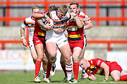 Bradford Bulls prop Mikolaj Oledzki (31) is stopped during the Kingstone Press Championship match between Dewsbury Rams and Bradford Bulls at the Tetley's Stadium, Dewsbury, United Kingdom on 10 September 2017. Photo by Simon Davies.