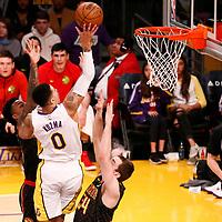 07 January 2018: Los Angeles Lakers forward Kyle Kuzma (0) goes for the jump shot over Atlanta Hawks forward Tyler Cavanaugh (34) during the LA Lakers 132-113 victory over the Atlanta Hawks, at the Staples Center, Los Angeles, California, USA.