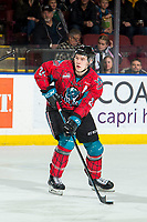 KELOWNA, CANADA - MARCH 16:  Kyle Topping #24 of the Kelowna Rockets skates with the puck against the Vancouver Giants on March 16, 2019 at Prospera Place in Kelowna, British Columbia, Canada.  (Photo by Marissa Baecker/Shoot the Breeze)