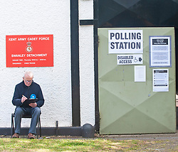 © Licensed to London News Pictures. 02/05/2019.<br /> Swanley,UK. A Tory teller sitting outside a polling station at the Kent Army cadet hall in Swanley, Kent. Polling stations are open across England and Northern Ireland for Local elections today. Photo credit: Grant Falvey/LNP