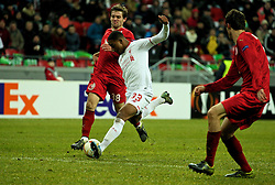 KAZAN, RUSSIA - Thursday, November 5, 2015: Liverpool's Jordon Ibe scores the winning goal against Rubin Kazan to seal a 1-0 victory during the UEFA Europa League Group Stage Group B match at the Kazan Arena. (Pic by Oleg Nikishin/Propaganda)