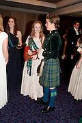ALICIA BIRCHALL; WILLIAM FOYLE, The Royal Caledonian Ball 2011. In aid of the Royal Caledonian Ball Trust. Grosvenor House. London. W1. 13 May 2011.<br /> <br />  , -DO NOT ARCHIVE-© Copyright Photograph by Dafydd Jones. 248 Clapham Rd. London SW9 0PZ. Tel 0207 820 0771. www.dafjones.com.