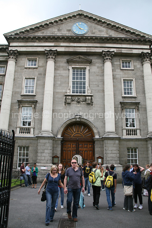 The front enterance to Trinity College Dublin Ireland