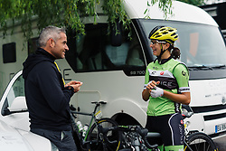 Rosella Ratto and Manel Lacambra chat ahead of the start of Stage 2 of the Aviva Women's Tour 2016. A 140.8 km road race from Atherstone to Stratford upon Avon, UK on June 16th 2016.