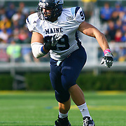 University of Maine defensive lineman Michael Cole (99) in second quarter of a Week 6 NCAA football game against Delaware.