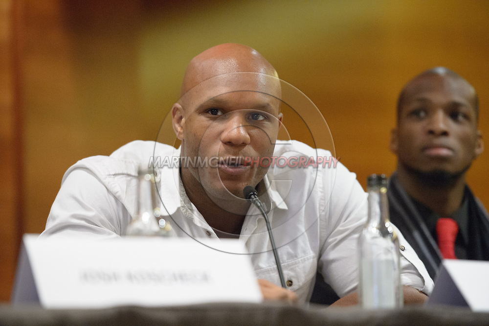"""LONDON, ENGLAND, APRIL 18, 2016: Linton Vassell is pictured during the event announcement press conference for """"Bellator 158: Slice vs. Thompson"""" inside the Four Seasons Hotel in Park Lane, London (© Martin McNeil)"""