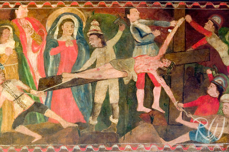 Original Stations of the Cross Art Painting of Jesus' Crucifixation, Mission San Gabriel Arcangel, California
