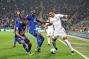Jay-Roy Grot of Leeds United takes on some Cardiff City players during the EFL Sky Bet Championship match between Cardiff City and Leeds United at the Cardiff City Stadium, Cardiff, Wales on 26 September 2017. Photo by Andrew Lewis.