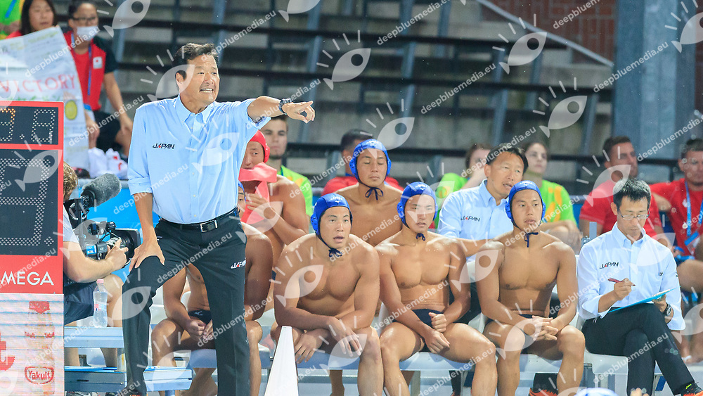 coach Yoji Omoto of Japan<br /> Greece  (white cap) -  Japan (blue cap)<br /> Preliminary Round Water Polo Women<br /> Day10  23/07/2017 <br /> XVII FINA World Championships Aquatics<br /> Alfred Hajos Complex Margaret Island  <br /> Budapest Hungary <br /> Photo @Deepbluemedia/Insidefoto Photo @Marcelterbals/Deepbluemedia/Insidefoto
