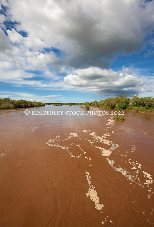 The Fitzory River in the wet season after rain.  In full flood the river flows at 30,000 cubic meters per second.