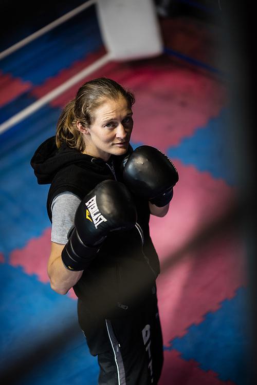 20170629 LICHETRVELDE Belgium Delfine Persoons bokster lichtgewicht Wereldkampioene voor alle federaties poses for the photographer in a boxing club pict FRANK ABBELOOS