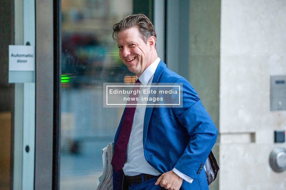 Fraser Nelson, editor of The Spectator magazine arrives at the BBC before appearing on the Andrew Marr show.<br /> <br /> Richard Hancox | EEm 1 September 2019