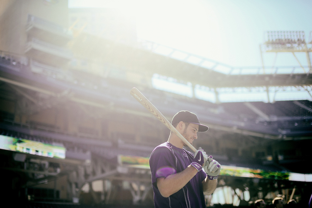 San Diego, CA - JUNE 04:   Nolan Arenado prepares for to toake batting practice at Petco Park during game with the San Diego Padres San Diego, California.  (Sandy Huffaker for ESPN)