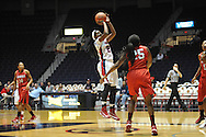 """Ole Miss' Danielle McCray (22) vs. Lamar's Dominique Edwards (25) in women's college basketball at the C.M. """"Tad"""" Smith Coliseum in Oxford, Miss. on Monday, November 19, 2012.  Lamar won 85-71."""