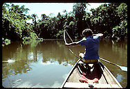 Fisherman/rubber tapper shoots arrow at fish in slough along Eiru River, Amazonas state. Brazil
