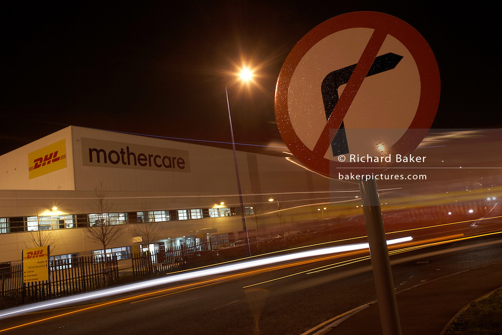 No-right turn traffic sign alongside the Mothercare facilities at the DIRFT warehouse logistics park in Daventry.
