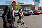 13 OCTOBER 2010 - TUCSON, AZ: Terry Goddard (CQ) walks into a campaign appearance at Feast Restaurant in Tucson with Tucson coordinator Cathy Nichols (CQ) and her baby, Matan Nichols, 5 mos old. Terry Goddard spent the day in Tucson campaigning. Goddard lost the election to sitting Governor Jan Brewer, a conservative Republican.     PHOTO BY JACK KURTZ