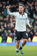 Fulham Striker, Ross McCormack (44) with a thumbs up during the Sky Bet Championship match between Fulham and Cardiff City at Craven Cottage, London, England on 9 April 2016. Photo by Matthew Redman.