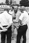 Michael Eavis in discussion with fire officers. Glastonbury,Somerset,1989.
