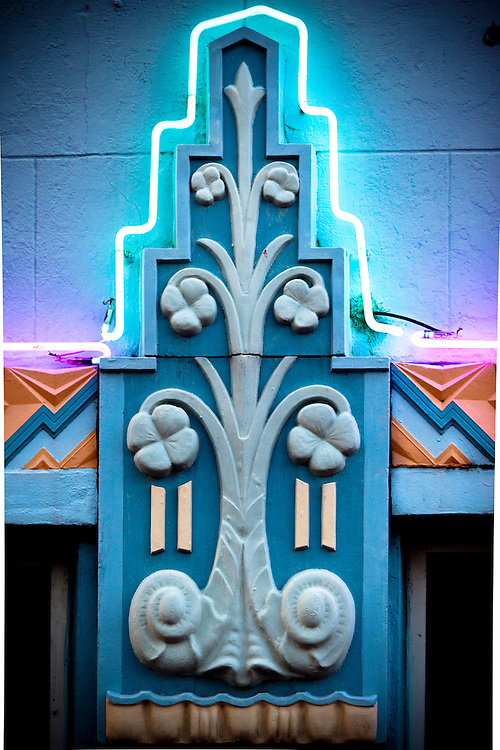 Art Deco details on Miami Beach's MacArthur Hotel, designed by architect T. Hunter Henderson in 1930 and enhanced later with glowing neon lights