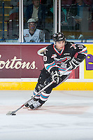 KELOWNA, CANADA - OCTOBER 9: Nick Merkley #10 of Kelowna Rockets skates with the puck against the Victoria Royals on OCTOBER 9, 2015 at Prospera Place in Kelowna, British Columbia, Canada.  (Photo by Marissa Baecker/Getty Images)  *** Local Caption *** Nick Merkley;